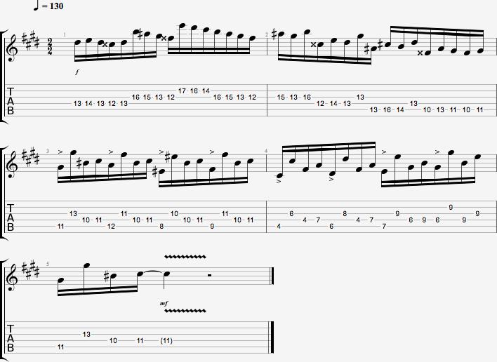 mesures 11 à 15 de la Fantaisie Impromptu de Chopin