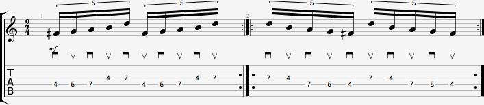 Partition de l'exercice de figures rythmiques #2 - quintolets #1