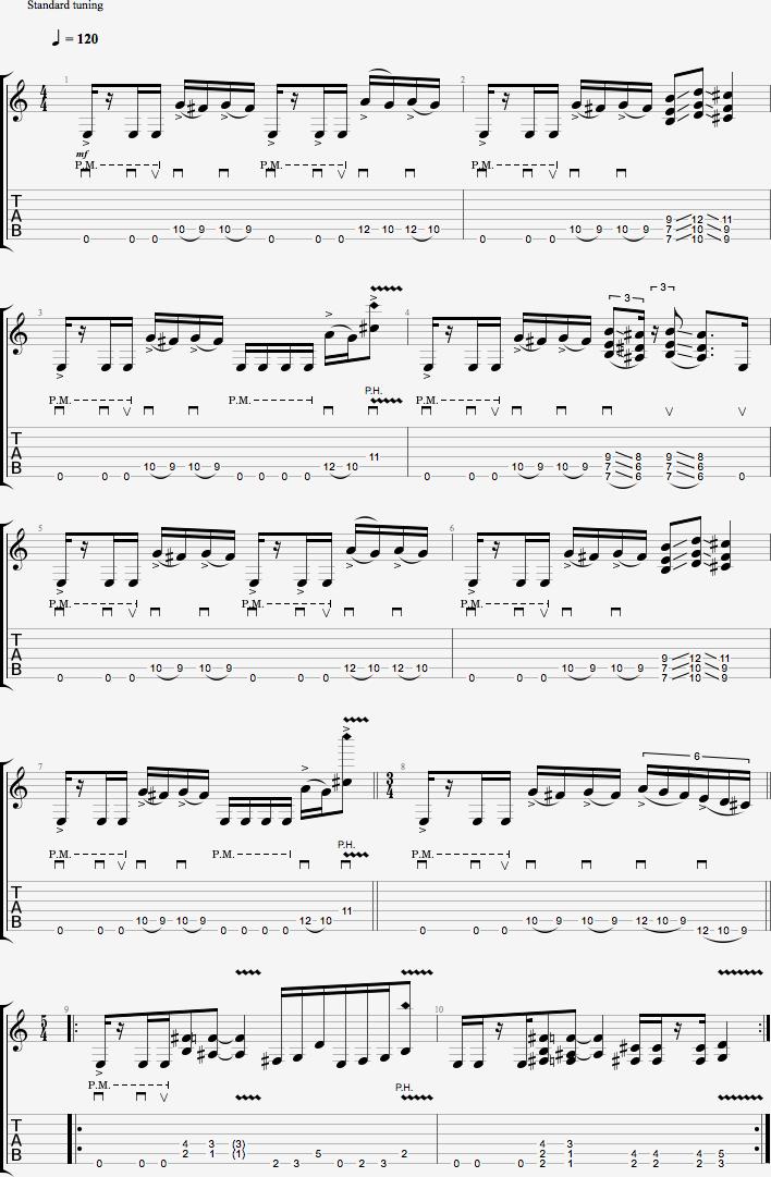 Partition de la rythmique metal #1
